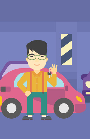 An asian man holding keys to his new car. Happy young man showing key to his new car on the background of car shop. Vector flat design illustration. Vertical layout.
