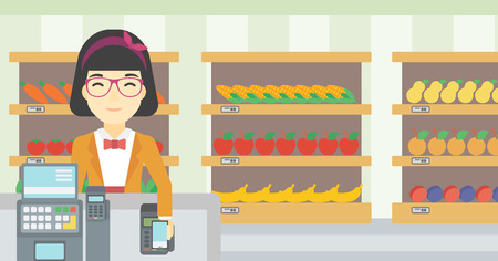 supermarket checkout: An asian young woman paying wireless with smartphone at the supermarket checkout . Female customer making payment for purchase with smartphone. Vector flat design illustration. Horizontal layout.