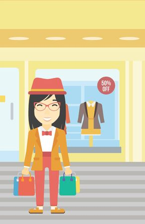 shop show window: An asian woman holding shopping bags on the background of boutique window with dressed mannequins. Happy young woman carrying shopping bags. Vector flat design illustration. Vertical layout.