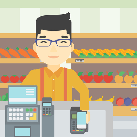 supermarket checkout: An asian young man paying wireless with his smartphone at the supermarket checkout . Male customer making payment for purchase with smartphone. Vector flat design illustration. Square layout.