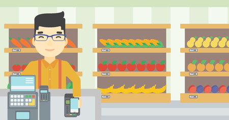 supermarket checkout: An asian young man paying wireless with his smartphone at the supermarket checkout . Male customer making payment for purchase with smartphone. Vector flat design illustration. Horizontal layout.