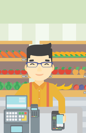 contactless: An asian young man paying wireless with his smartphone at the supermarket checkout . Male customer making payment for purchase with smartphone. Vector flat design illustration. Vertical layout. Illustration