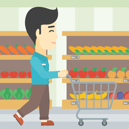 aisle: An asian young man pushing empty supermarket cart. Customer shopping at supermarket with cart. Man walking with trolley on aisle at supermarket. Vector flat design illustration. Square layout. Illustration