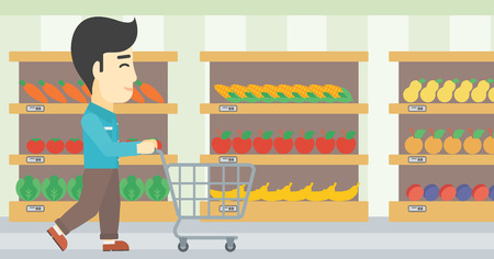 aisle: An asian young man pushing empty supermarket cart. Customer shopping at supermarket with cart. Man walking with trolley on aisle at supermarket. Vector flat design illustration. Horizontal layout.
