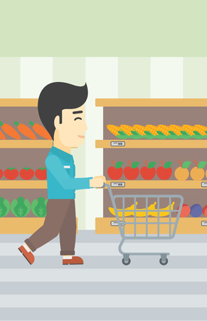 aisle: An asian young man pushing empty supermarket cart. Customer shopping at supermarket with cart. Man walking with trolley on aisle at supermarket. Vector flat design illustration. Vertical layout. Illustration