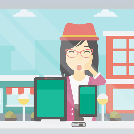 astonished: Astonished woman looking at digital tablet and smartphone through shop window. An asian young woman with open mouth looking at tablet and phone. Vector flat design illustration. Square layout.