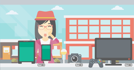 Astonished woman looking at digital tablet and smartphone through shop window. An asian young woman with open mouth looking at tablet and phone. Vector flat design illustration. Horizontal layout