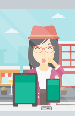 astonished: Astonished woman looking at digital tablet and smartphone through shop window. An asian young woman with open mouth looking at tablet and phone. Vector flat design illustration. Vertical layout. Illustration