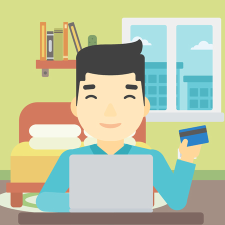 asian man laptop: An asian man holding a credit card and using laptop for online shopping. Young man shopping online at home. Man making online payment. Vector flat design illustration. Square layout.