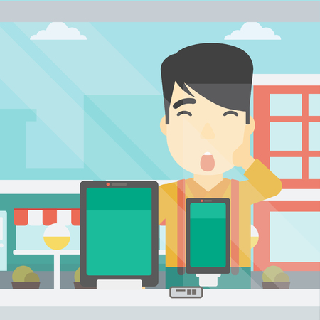 astonished: Astonished man looking at digital tablet and smartphone through the shop window. An asian young man with open mouth looking at tablet and phone. Vector flat design illustration. Square layout. Illustration