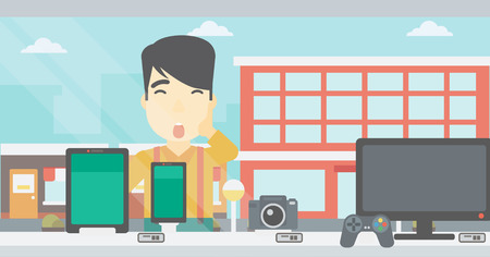 astonished: Astonished man looking at digital tablet and smartphone through shop window. An asian young man with open mouth looking at tablet and phone. Vector flat design illustration. Horizontal layout.
