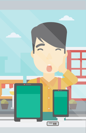 astonished: Astonished man looking at digital tablet and smartphone through the shop window. An asian young man with open mouth looking at tablet and phone. Vector flat design illustration. Vertical layout. Illustration