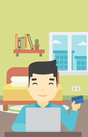 asian man laptop: An asian man holding a credit card and using laptop for online shopping. Young man shopping online at home. Man making online payment. Vector flat design illustration. Vertical layout.