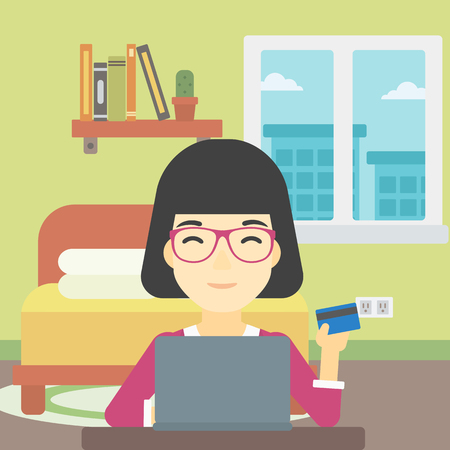 woman using laptop: An asian woman holding a credit card and using laptop for online shopping. Woman shopping online at home. Woman making online payment. Vector flat design illustration. Square layout.