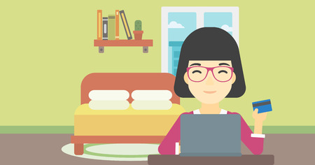 woman credit card: An asian woman holding a credit card and using laptop for online shopping. Woman shopping online at home. Woman making online payment. Vector flat design illustration. Horizontal layout.