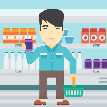 consumer goods: An asian young man holding shopping basket in one hand and a milk product in the other. Male customer shopping at supermarket with basket. Vector flat design illustration. Square layout.