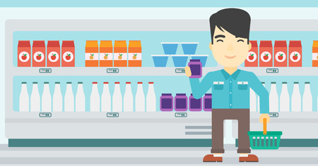 consumer goods: An asian young man holding shopping basket in one hand and milk product in the other. Male customer shopping at supermarket with basket. Vector flat design illustration. Horizontal layout.