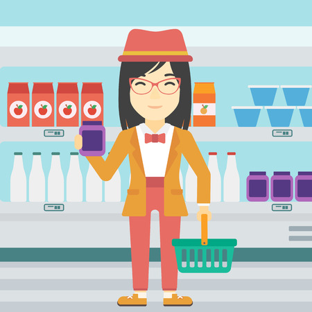 An asian woman holding shopping basket in one hand and milk product in the other. Female customer shopping at supermarket with basket. Vector flat design illustration. Square layout.