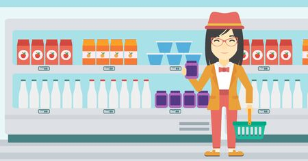 An asian woman holding shopping basket in one hand and milk product in the other. Female customer shopping at supermarket with basket. Vector flat design illustration. Horizontal layout.