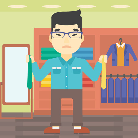 choosing clothes: An asian upset man holding two neckties and trying to choose the best one. Customer choosing necktie at clothing store. Vector flat design illustration. Square layout.