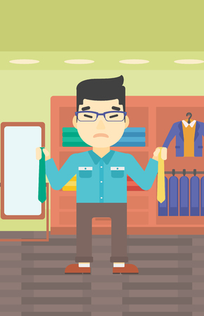 choosing clothes: An asian upset man holding two neckties and trying to choose the best one. Customer choosing necktie at clothing store. Vector flat design illustration. Vertical layout. Illustration