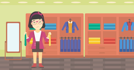 choosing: Thoughtful woman holding two neckties and trying to choose the best one. An asian upset female customer choosing necktie at clothing store. Vector flat design illustration. Horizontal layout.