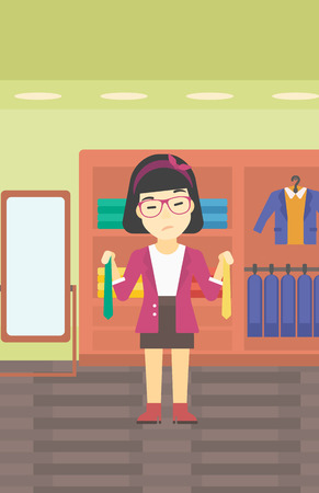 choosing clothes: Thoughtful woman holding two neckties and trying to choose the best one. An asian upset female customer choosing necktie at clothing store. Vector flat design illustration. Vertical layout.