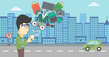 consumer goods: An asian young man holding a smartphone with shopping cart and application icons flying out on a city background. Vector flat design illustration. Horizontal layout.