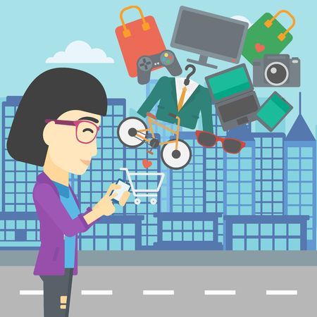 consumer goods: An asian young woman holding a smartphone with shopping cart and application icons flying out on a city background, Vector flat design illustration. Square layout.