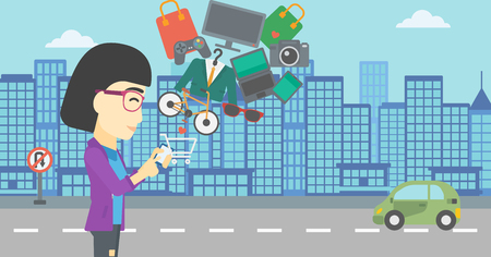 consumer goods: An asian young woman holding a smartphone with shopping cart and application icons flying out on a city background, Vector flat design illustration. Horizontal layout.