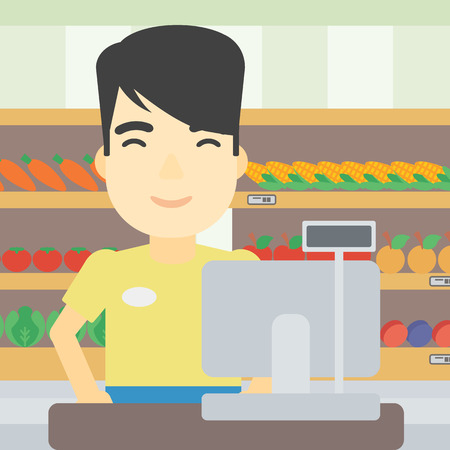 checkout: An asian young cashier standing at the checkout in supermarket. Male cashier working at checkout in supermarket. Vector flat design illustration. Square layout. Illustration
