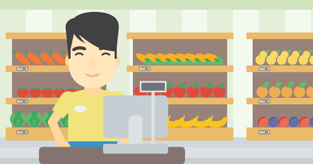 checkout: An asian young cashier standing at the checkout in supermarket. Male cashier working at checkout in supermarket. Vector flat design illustration. Horizontal layout. Illustration