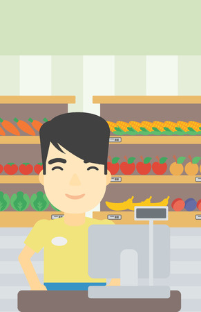 checkout: An asian young cashier standing at the checkout in supermarket. Male cashier working at checkout in supermarket. Vector flat design illustration. Vertical layout.