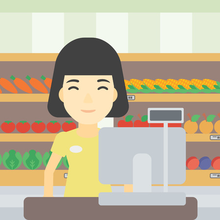 checkout: An asian young female cashier standing at the checkout at the supermarket. Female cashier working at checkout at the supermarket. Vector flat design illustration. Square layout. Illustration