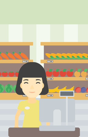 checkout: An asian young female cashier standing at the checkout at the supermarket. Female cashier working at checkout at the supermarket. Vector flat design illustration. Vertical layout.