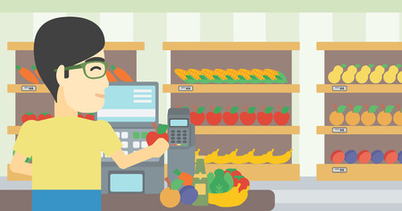 checkout: An asian young male cashier standing at the checkout in supermarket. Male cashier working at checkout in supermarket. Vector flat design illustration. Horizontal layout. Illustration