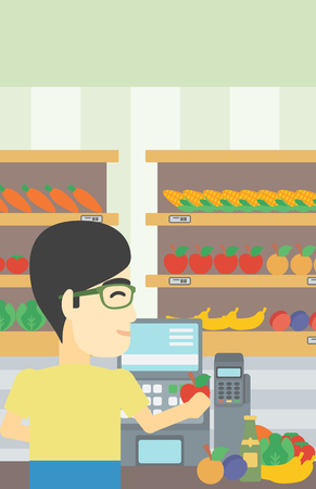 checkout: An asian young male cashier standing at the checkout in supermarket. Male cashier working at checkout in supermarket. Vector flat design illustration. Vertical layout.