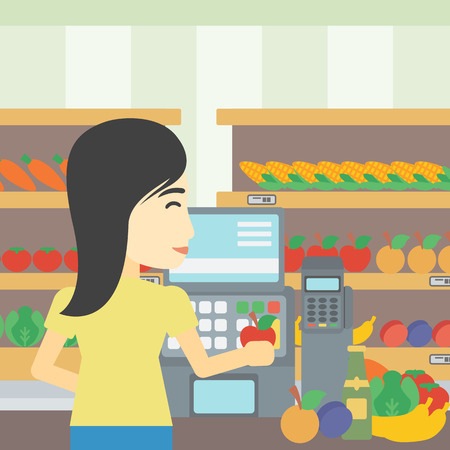 An asian young female cashier standing at the checkout at the supermarket. Female cashier working at checkout at the supermarket. Vector flat design illustration. Square layout. 일러스트