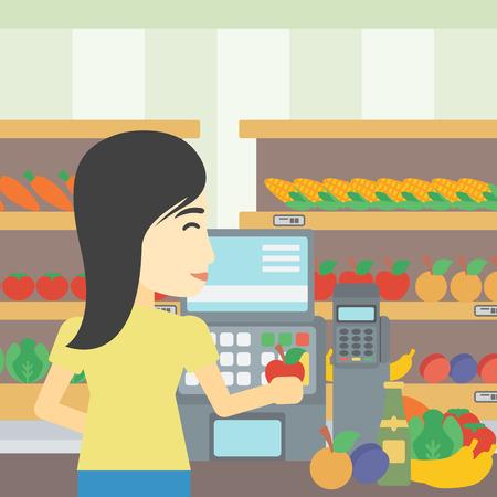 mujer en el supermercado: Un cajero de mujer joven asiático de pie en la caja en el supermercado. cajero de sexo femenino que trabaja en la caja en el supermercado. Vector de diseño plano ilustración. de planta cuadrada.