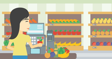 checkout: An asian young female cashier standing at the checkout at the supermarket. Female cashier working at checkout at the supermarket. Vector flat design illustration. Horizontal layout.