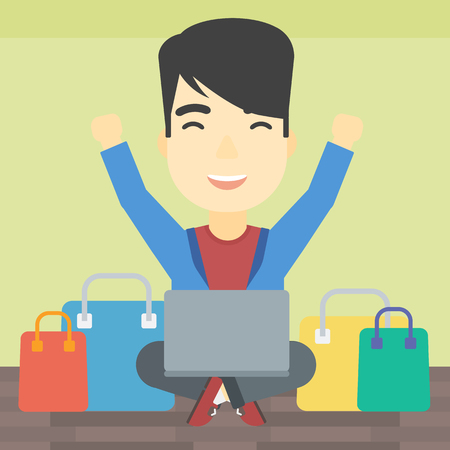 An asian young man with hands up using laptop for shopping online. Customer sitting with shopping bags around him. Man doing online shopping. Vector flat design illustration. Square layout.