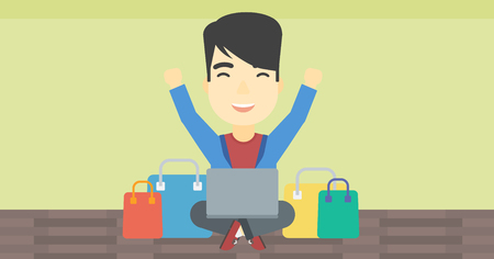 consumer goods: An asian young man with hands up using laptop for shopping online. Customer sitting with shopping bags around him. Man doing online shopping. Vector flat design illustration. Horizontal layout. Illustration