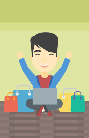 consumer goods: An asian young man with hands up using laptop for shopping online. Customer sitting with shopping bags around him. Man doing online shopping. Vector flat design illustration. Vertical layout. Illustration