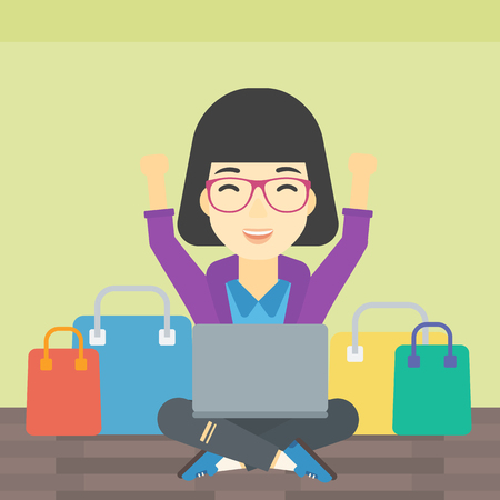 consumer goods: An asian young woman with hands up using laptop for shopping online. Customer sitting with shopping bags around him. Woman doing online shopping. Vector flat design illustration. Square layout.