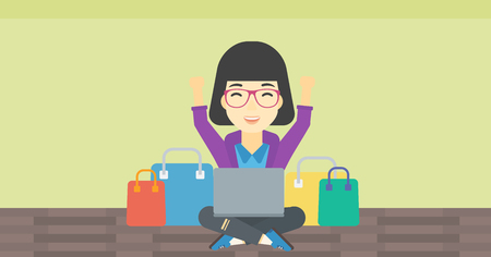 An asian young woman with hands up using laptop for shopping online. Customer sitting with shopping bags around her and doing online shopping. Vector flat design illustration. Horizontal layout. Illustration