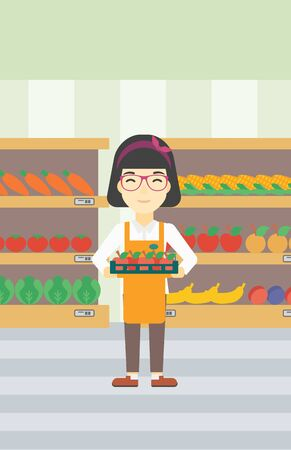 work crate: An asian young female supermarket worker holding a box with apples on the background of shelves with vegetables and fruits in supermarket. Vector flat design illustration. Vertical layout.