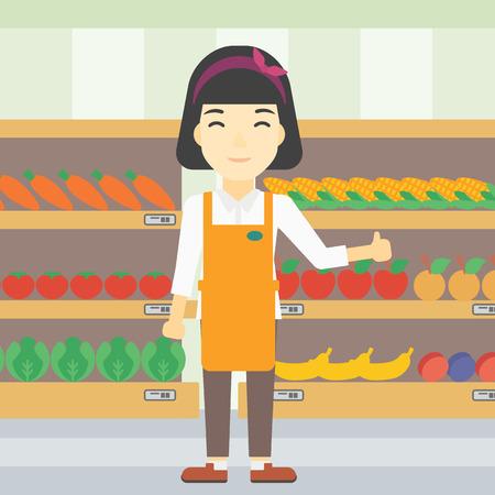 mujer en el supermercado: Una mujer asiática joven trabajador de supermercado que muestra el pulgar hacia arriba en el fondo de los estantes con verduras y frutas en el supermercado. Vector de diseño plano ilustración. de planta cuadrada. Vectores