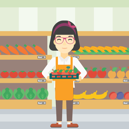 work crate: An asian young female supermarket worker holding a box with apples on the background of shelves with vegetables and fruits in supermarket. Vector flat design illustration. Square layout. Illustration