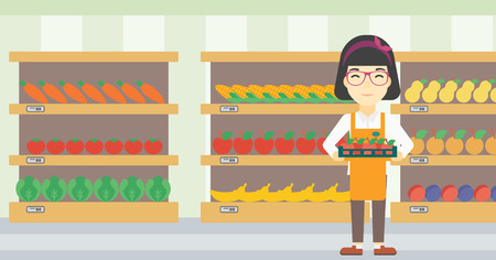 An asian young female supermarket worker holding a box with apples on the background of shelves with vegetables and fruits in supermarket. Vector flat design illustration. Horizontal layout. Vettoriali