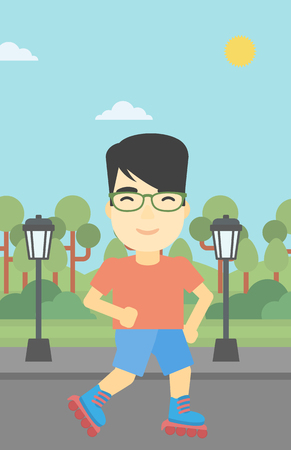 rollerskates: An asian young man on roller-skates in the park. Full length of sportsman in protective sportwear on rollers skating outdoors. Vector flat design illustration. Vertical layout.